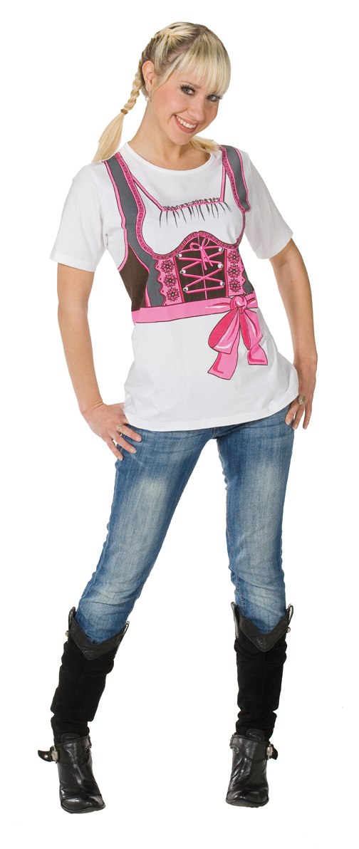 karneval damen kost m dirndl t shirt pink oktoberfest. Black Bedroom Furniture Sets. Home Design Ideas