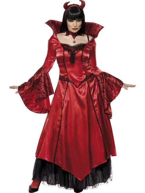 Damen Kostüm Teufelin Halloween Teufel Mit Hörner Ebay
