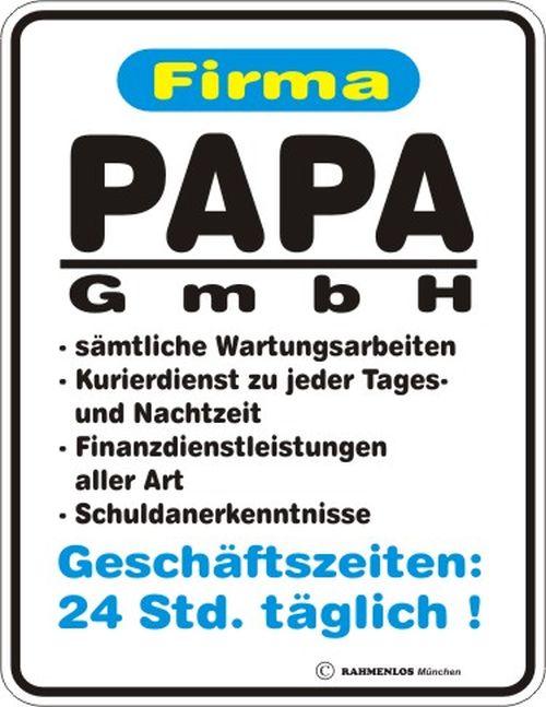 Blechschild Schild Firma Papa Gmbh Geschenk Geburtstag Geburt