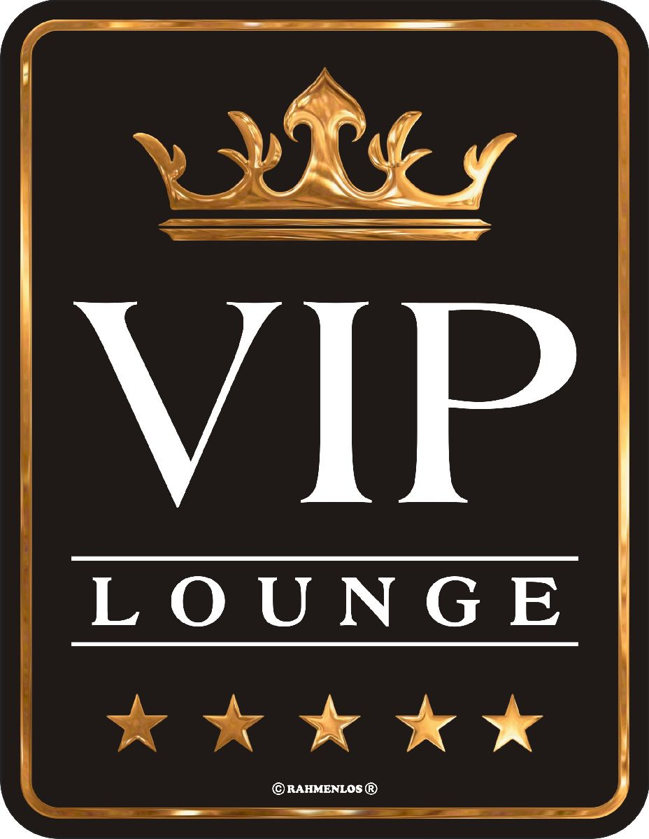 blechschild schild vip lounge mit krone deko partykeller geschenk b ro ebay. Black Bedroom Furniture Sets. Home Design Ideas