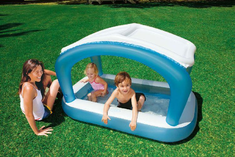 baby kleinkind kinder pool planschbecken mit sonnendach ebay. Black Bedroom Furniture Sets. Home Design Ideas