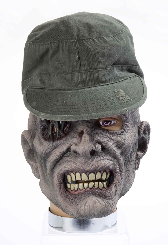 halloween maske zombie soldat mit m tze zombiemaske. Black Bedroom Furniture Sets. Home Design Ideas