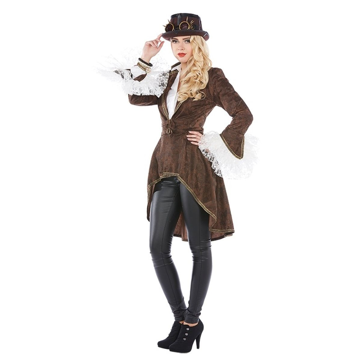 mot damen kost m steampunk western mantel karneval fasching ebay. Black Bedroom Furniture Sets. Home Design Ideas