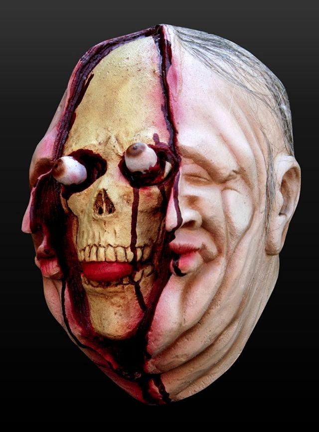 halloween maske gespaltener sch del totenkopf leiche ebay. Black Bedroom Furniture Sets. Home Design Ideas
