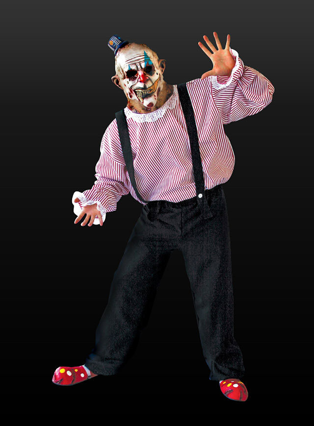 herren kost m zombie horror clown clownkost m maske halloween m l ebay. Black Bedroom Furniture Sets. Home Design Ideas