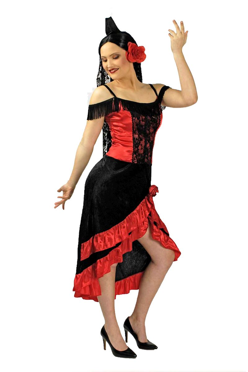 k r damen kost m flamenco t nzerin karneval fasching ebay. Black Bedroom Furniture Sets. Home Design Ideas