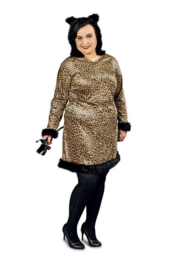 k r plus size damen kost m leopard karneval fasching ebay. Black Bedroom Furniture Sets. Home Design Ideas