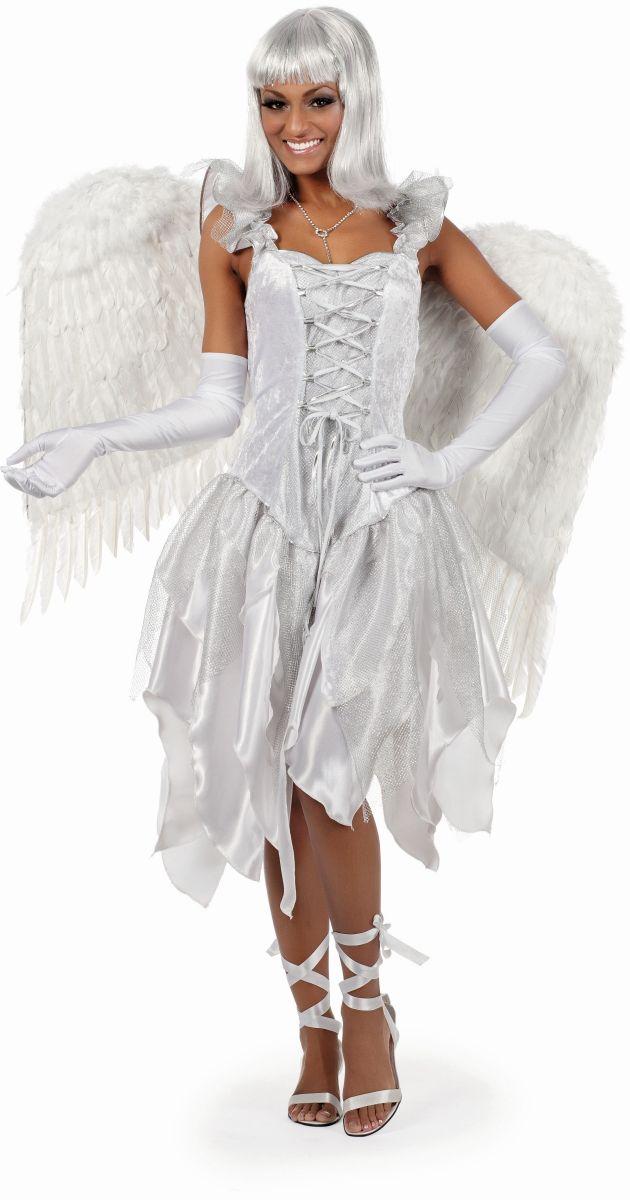 wil damen kost m engel in wei karneval fasching weihnachten ebay. Black Bedroom Furniture Sets. Home Design Ideas