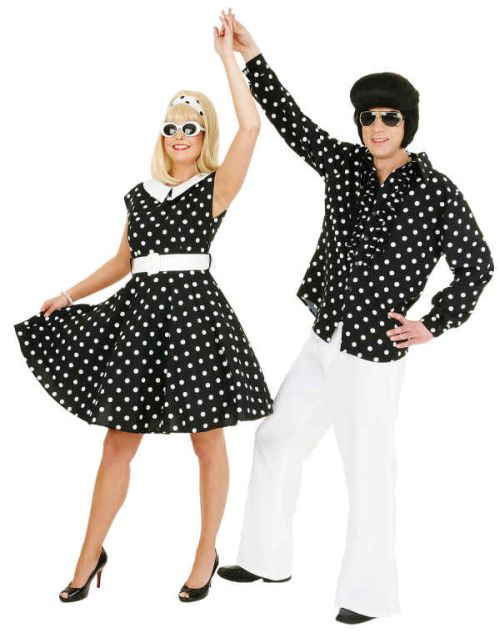 Polka Dot Rockabilly Kleid In Schwarzweiss Rock N Roll Karneval